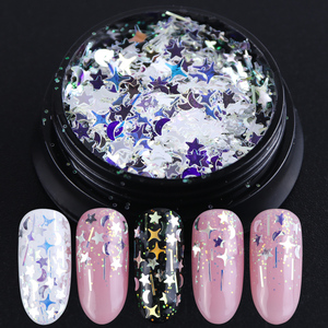 1Box Nail Art Nail Glitter Flakes Sequins Star Moon Laser Shining Blue Paillette Spangles Decoration Holographic Manicure JI779