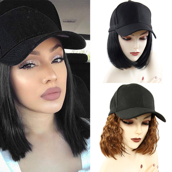 цена на Baseball Cap Short Wigs for Women Heat Resistant Fiber Black Hair Wig Brown Synthetic Bob Wigs for Sale