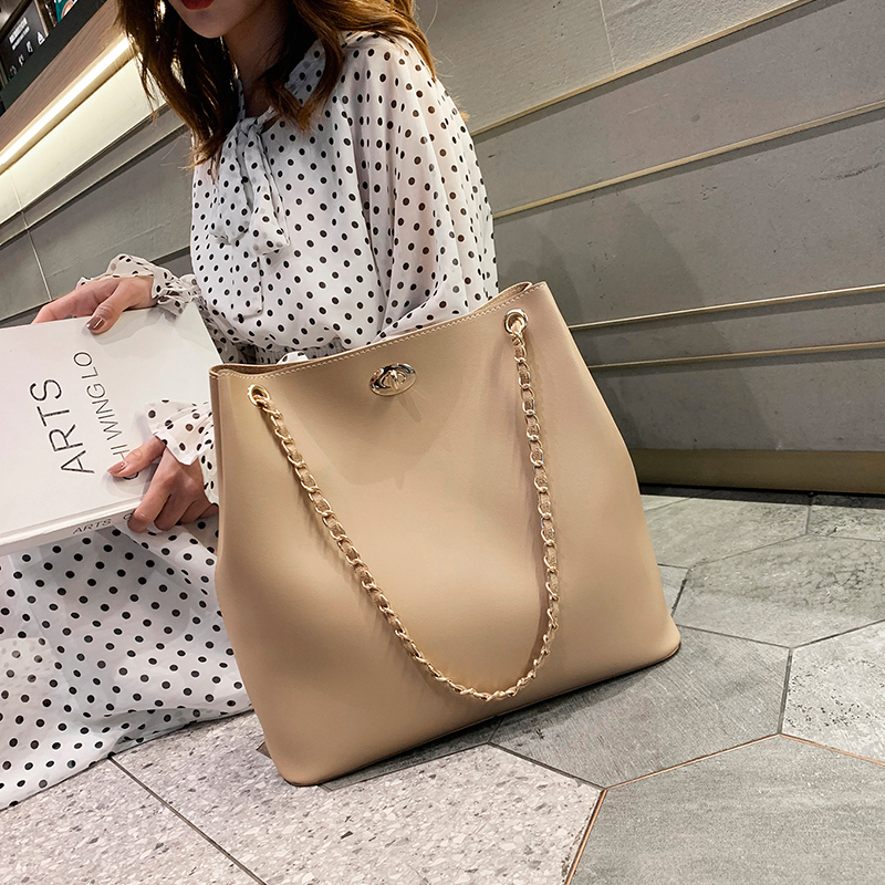 Elegant Female Casual Big Tote Bag 2019 Fashion New Quality PU Leather Women's Designer Handbag Chain Shoulder Messenger Bags