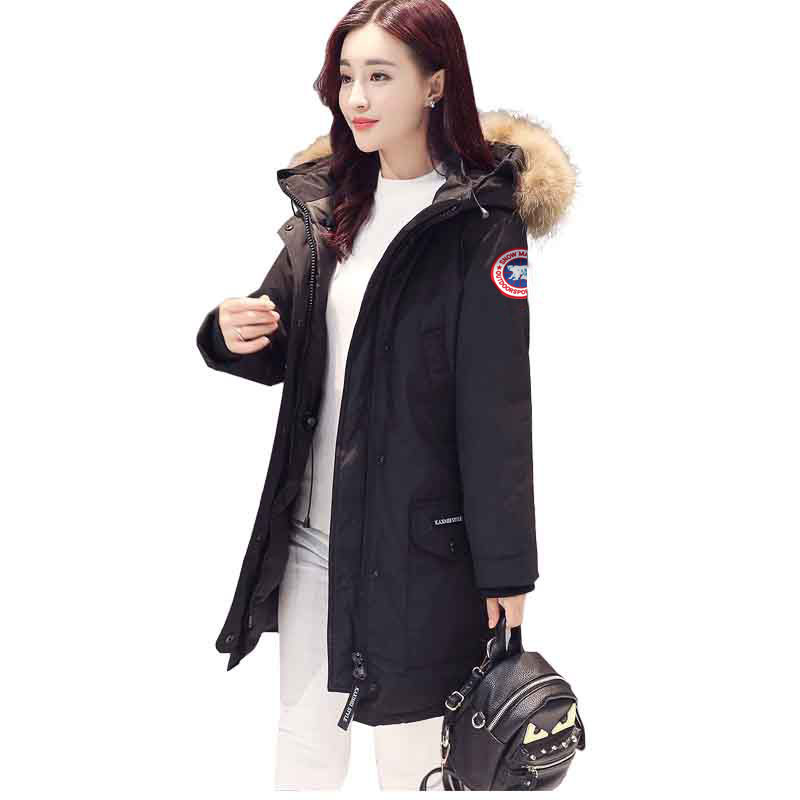 Canada Brand Parkas Winter Jacket and   Coat   Fur Collar Black Thick Long Hooded Windbreaker   Coats   Fashion Casual Warm Outwear