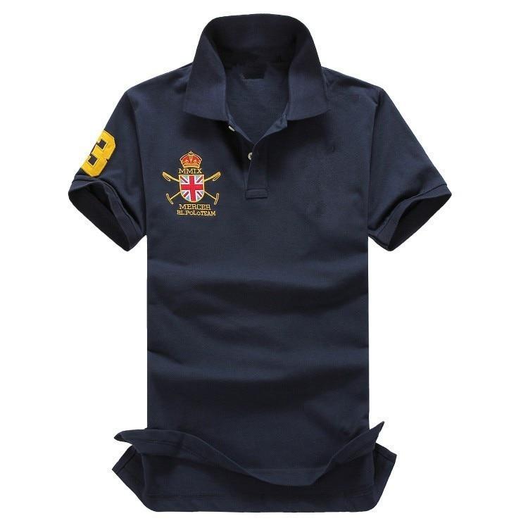 S-2XL  Famous Brand High Quality 100% Cotton Men Polo Shirts With Short Sleeve Big Horse Logo Polo Homme De Marque