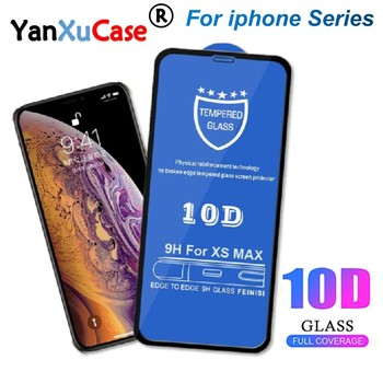 50pcs/lot 10D Screen Protector For iPhone 11 Pro Max XS X 8 7 6 6S Plus SE 2 Full Coverage Cover Curved Tempered Glass Film On X