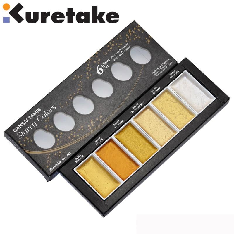 ZIG Kuretake GANSAI TAMBI Starry/Pearl/Gem Color Solid Paints Metallic Gold Watercolor Paints 1