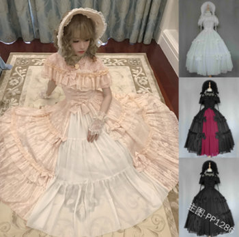 Kawaii girl gothic palace sweet lolita dress retro lace bowknot o-neck high waist victorian dress lolita op loli cosplay image