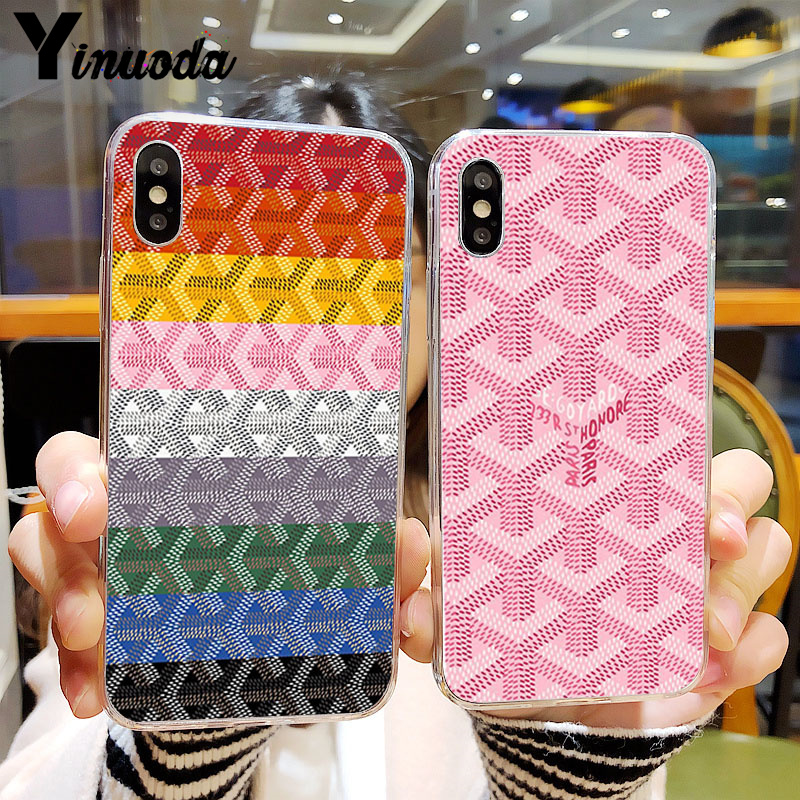 Yinuoda housse pour le coloré Goyard Transparent téléphone portable étui pour iphone 5 5Sx 6 7 7plus 8 8plus X XS MAX XR 11 pro max