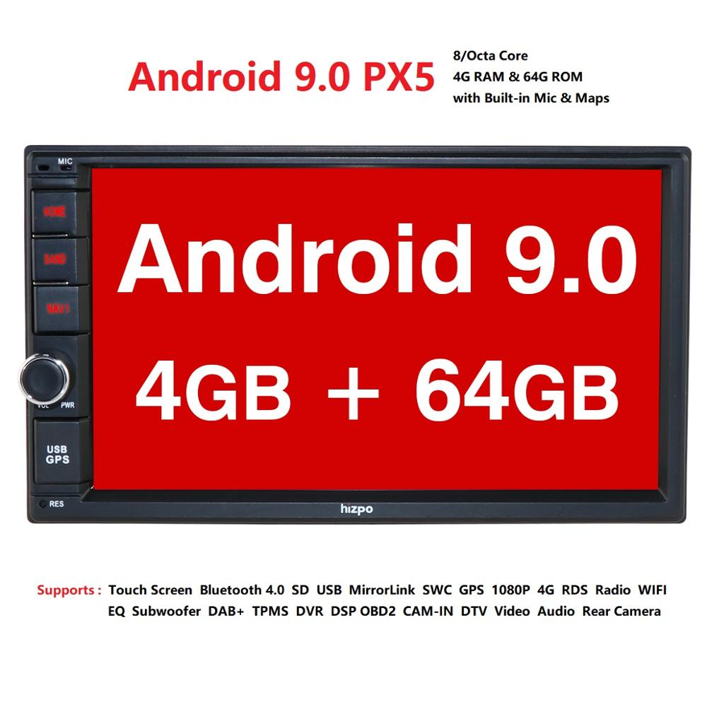 IPS OCTA Core Android 9 Double 2 Din 4G RAM 64G ROM Car Multimedia NON DVD Player with Bluetooth WiFi OBD DVR DAB+ image
