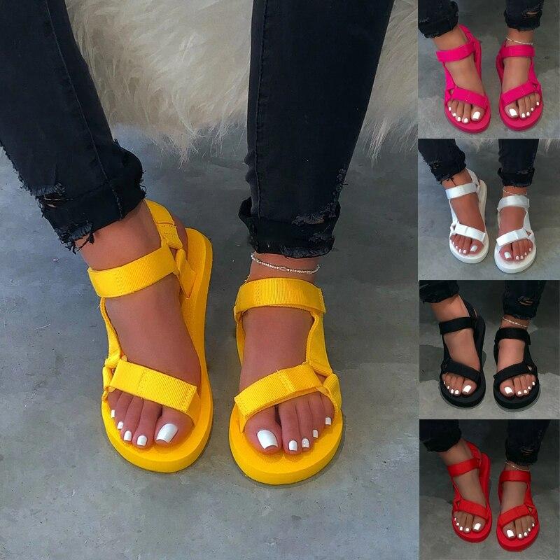 Dropshipping Women's Sandals 2020 Summer Shoes Woman Peep-toe Comfortable Sandals Slip-on Flat Casual Shoes Female Sandalias