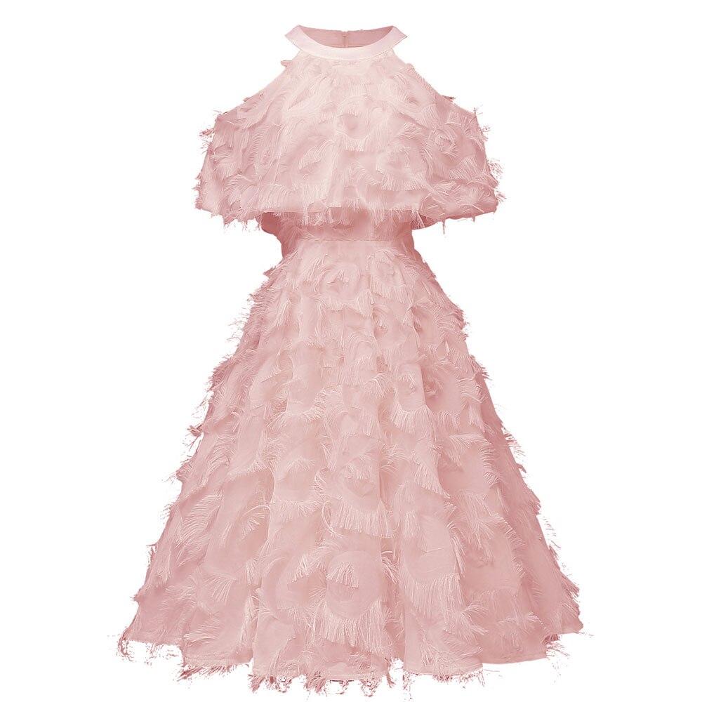 Красное коктейльное платье длиной до колена роскошное вечернее платье трапециевидной формы с кисточками сексуальное платье без рукавов с v-образным вырезом - Цвет: 1428 Pink