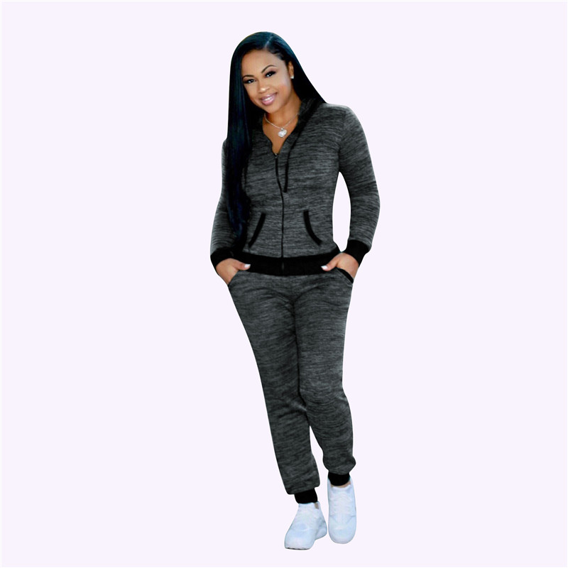 Spring Fall Tracksuit Blue Black Outfit Long Sleeve Zipper Hooded Sweatshirt+full Pants Matching Sets Calça Moletom  Feminina