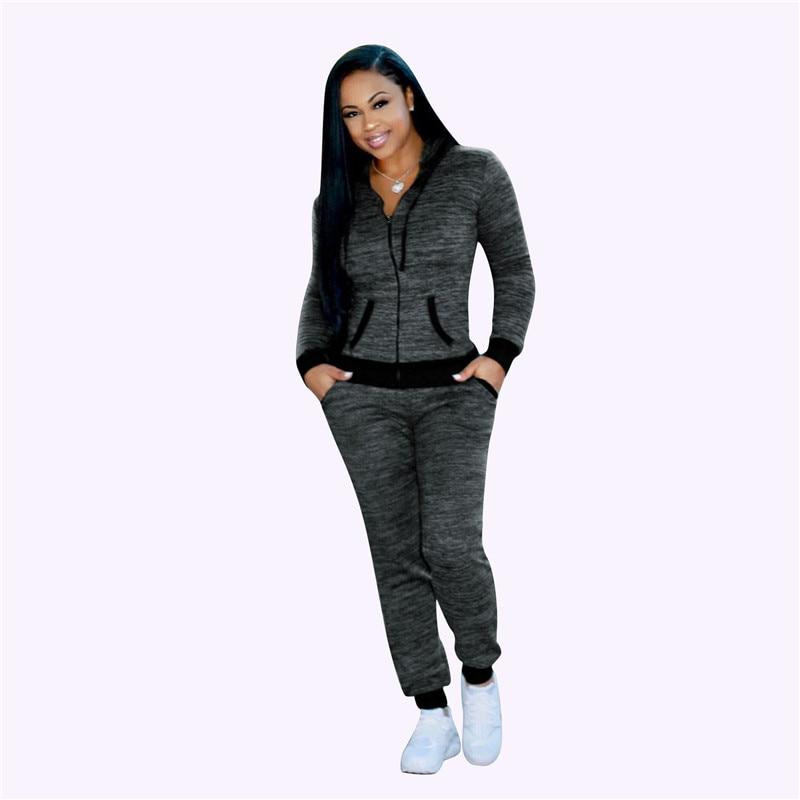 Spring Fall Tracksuit Blue Black Outfit Long Sleeve Zipper Hooded Sweatshirt+full Pants Matching Sets Calça Moletom  Feminina
