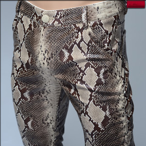 Image 4 - 2020 Fashion Men Slim Faux Python Snake Print Leather Pants Mens Personality PU Leather Trousers Chandal Male High Quality