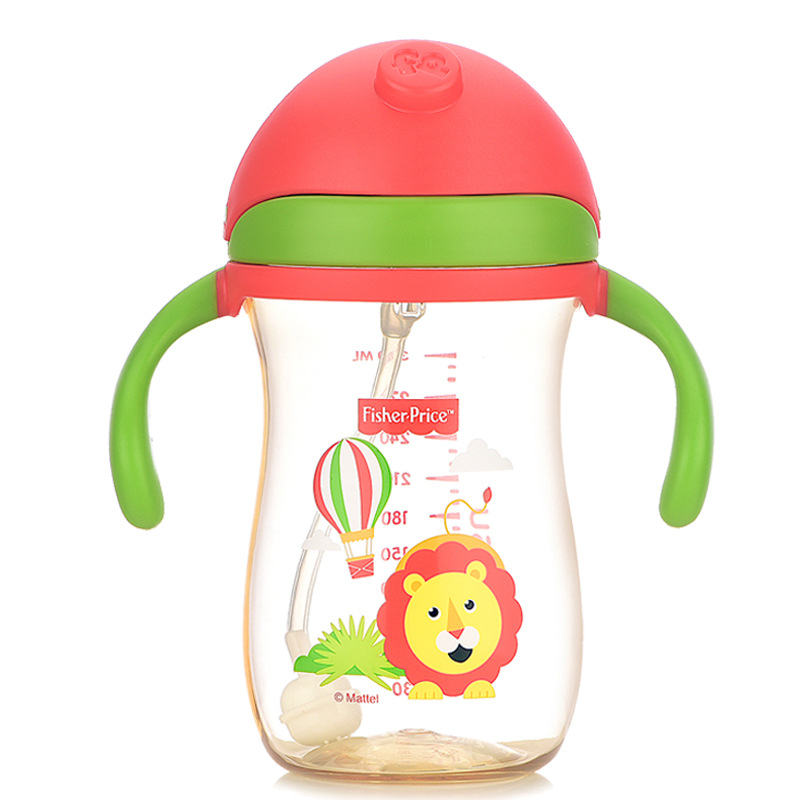 FISHER-PRICE Infant Sippy Cup Leak-Proof Anti Choking Baby PPSU Glass Children Gravity Ball Straw Cup 6-18 Month