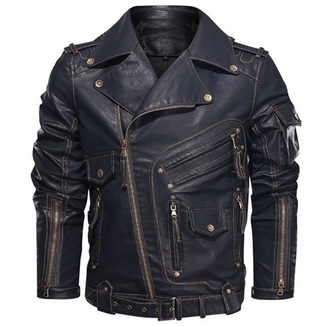 Winter Mens Leather Jacket Men Fashion Motorcycle PU Leather Jacket Cool Zipper Pockets Leather Coats EU Size 1