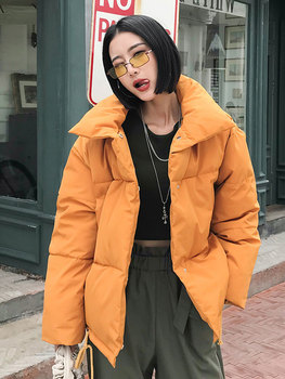 2020 Autumn Winter Woman Parkas Korean Coats Orange Puffer Jacket Down Cotton Bubble Coat Elegant Spring Yellow Puffer Jacket