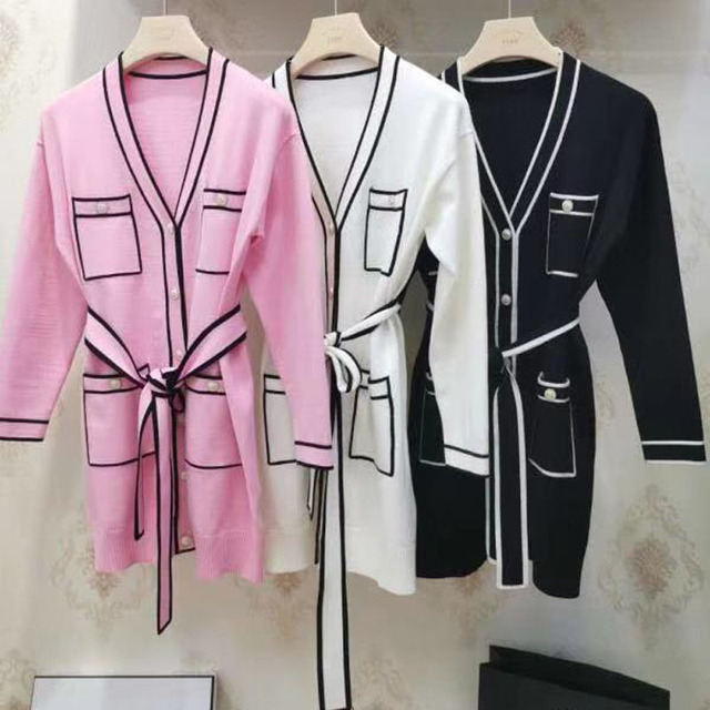 Pink Long Sweater Cardigans Runway Fashion V-Neck Long Sleeve Pocket Elegant Christmas 2020 Clothes With Sashes Knitted Outwear 3