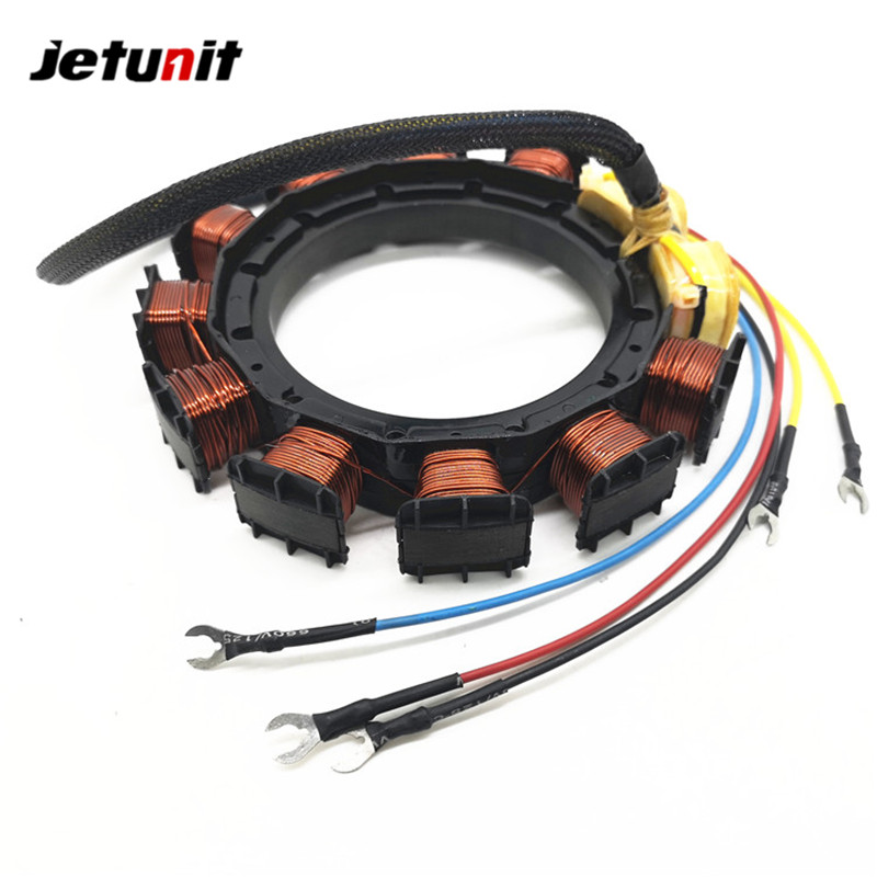 JETUNIT Outboard Stator For Mercury 40HP 10AMP 2 Cylinder 398-5255 398-5256 398-4770 174-5255 18-5856
