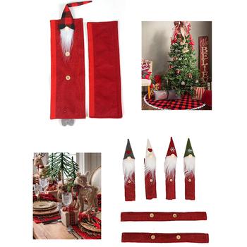 8 sztuk lodówka osłona klamki kuchenki mikrofalowe zmywarka świąteczna do domu boże narodzenie Santa wielokrotnego użytku przenośna ściereczka kuchenna czerwone drzwi tanie i dobre opinie HOUSEEN CN (pochodzenie) Other Nowoczesne