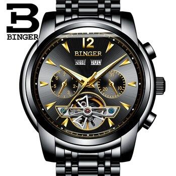 Механические Мужские часы Бингер с скелетом, лучший бренд, Роскошные наручные часы, автоматические часы, reloj hombre, нержавеющая сталь, relogio ...