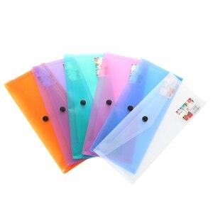 6 шт., A4, пластиковая папка для документов, прозрачная папка для документов с кнопкой, прочная папка для хранения, органайзер, случайный цвет