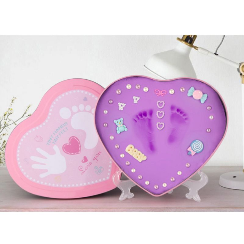 DIY 0-1 Year Baby Handprint Footprint Imprint Inkpad Kit Baby Souvenirs Mud Hundred Days Commemorate Clay Box Kids Growing Memor