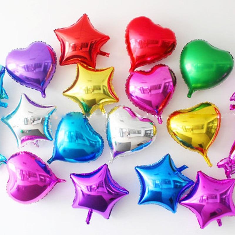 10 шт./лот 10 дюймов love четыре или пятиконечные звезды воздушный шар из алюминиевой фольги baby shower День Рождения Вечеринка свадьба украшение Ге...