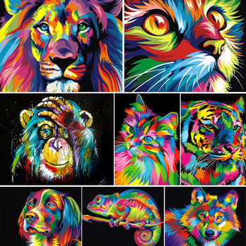 DIY 5D Diamond Painting Animal Lion Cat Cross Stitch Kit Full Drill Embroidery Mosaic Art Picture of Rhinestones Home Decor Gift 1