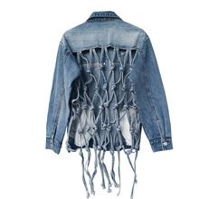 2019 New Autumn Winter Lapel Long Sleeve Blue Denim Back Hollow Out Personality Jacket