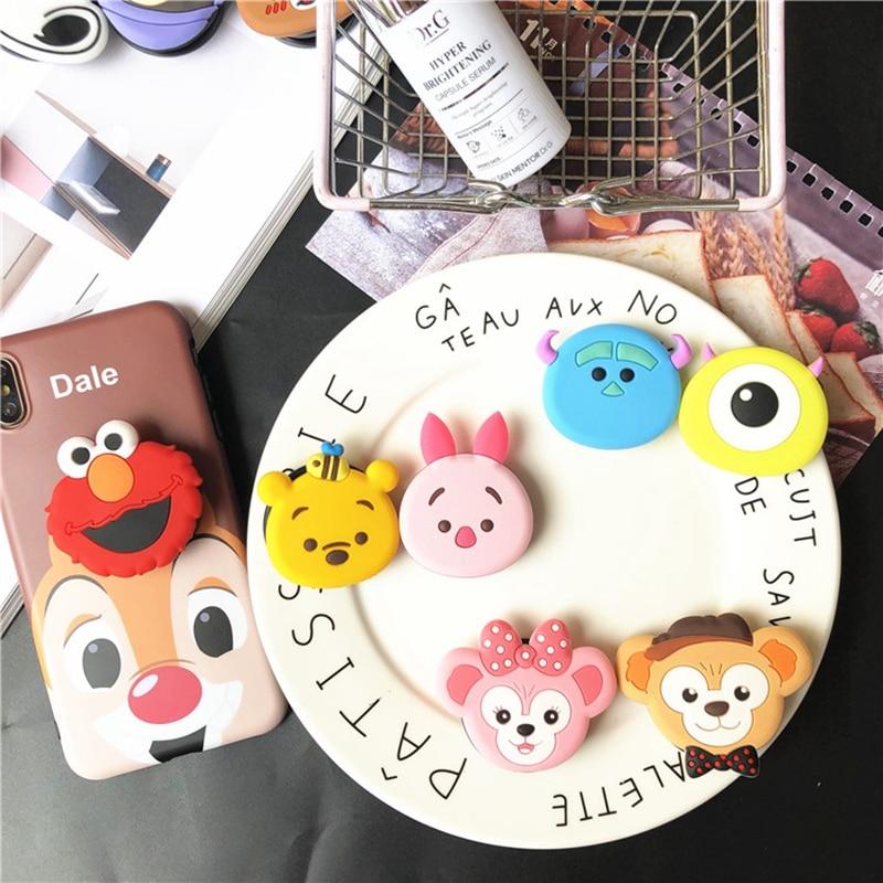 Air Bag Cell Phone Bracket Cartoon Disneys Stitch Winnie Pooh Dog Phone Stand Finger Holder For IPhone XR Samsung S10 Universal