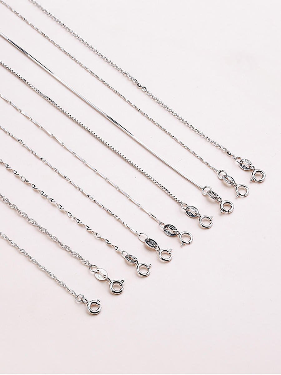 Chain Necklace Wedding-Statement 925-Sterling-Silver Woman Fashion Genuine