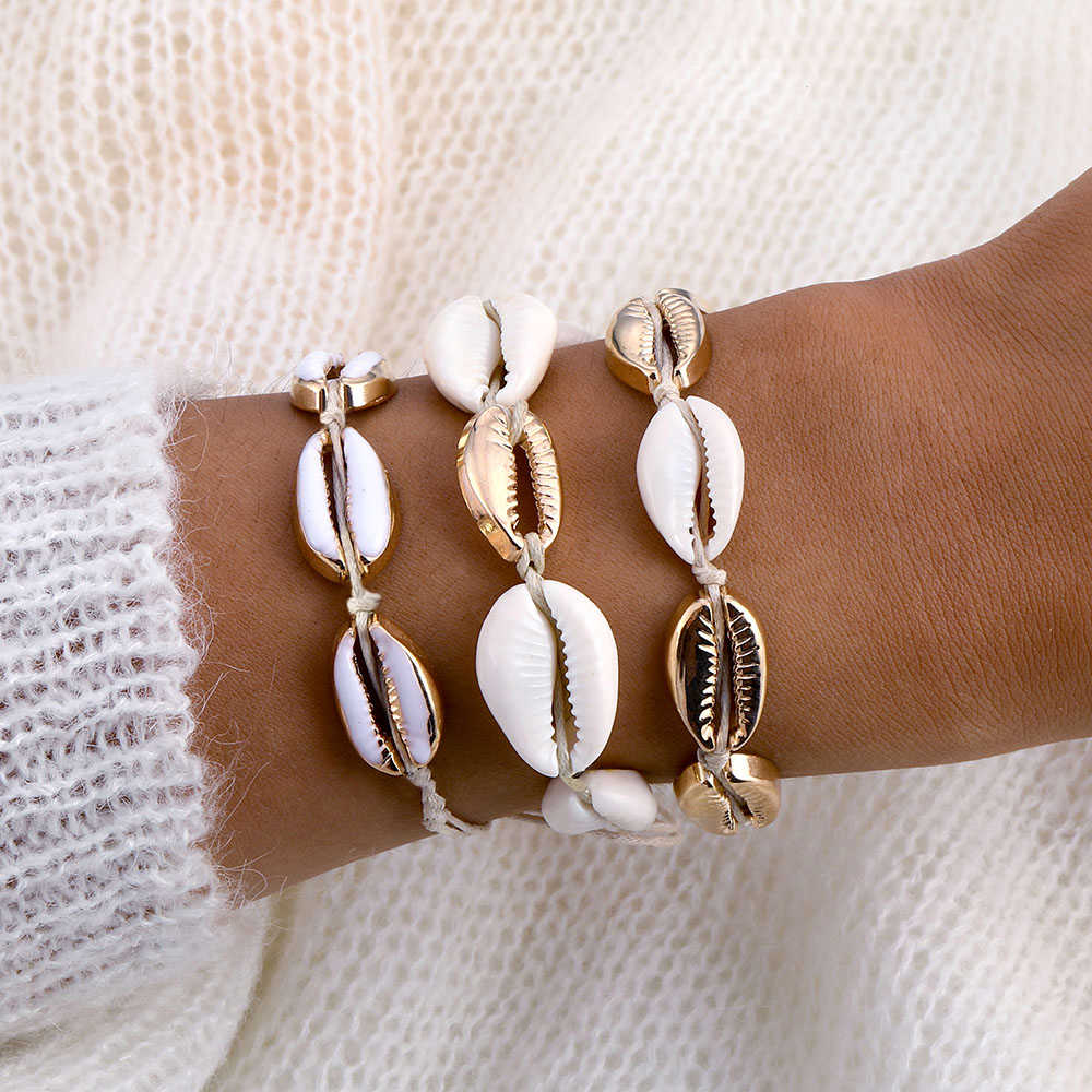 Gold Color Cowrie Shell Bracelets for Women Delicate Rope Chain Bracelet Beads Charm Bracelet Bohemian Beach Jewelry