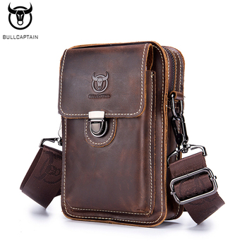 BULLCAPTAIN Men's Leather Casual Wear Belt Mobile Phone Waist Bag Head Layer Cow Leather Trend Multi-function Shoulder Messenger fashionable men s head layer cowhide cow split leather waist belt brown