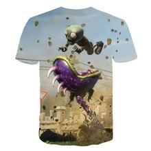 2021 3d crianças camiseta plantas vs zumbis guerra menino roupas dos desenhos animados padrão de jogo menino roupas das crianças o-pescoço camisetas 4t-14t
