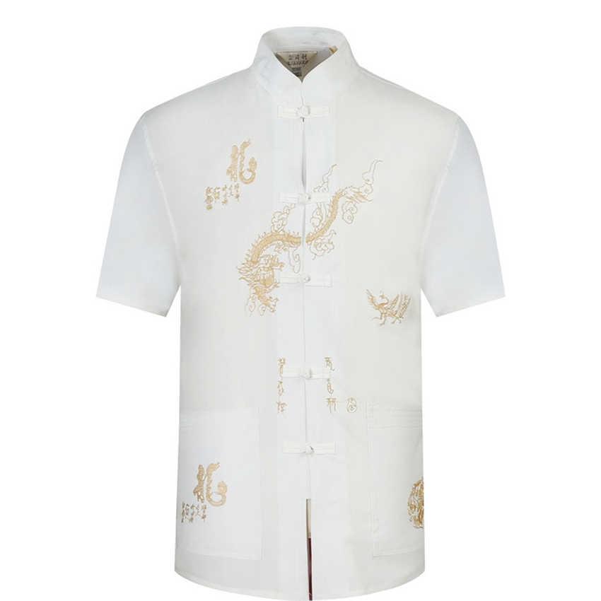 Tangsuit bordado masculino estilo chinês camisa roupas dragão tradicional chinês roupas para homens jaqueta curto retro festa