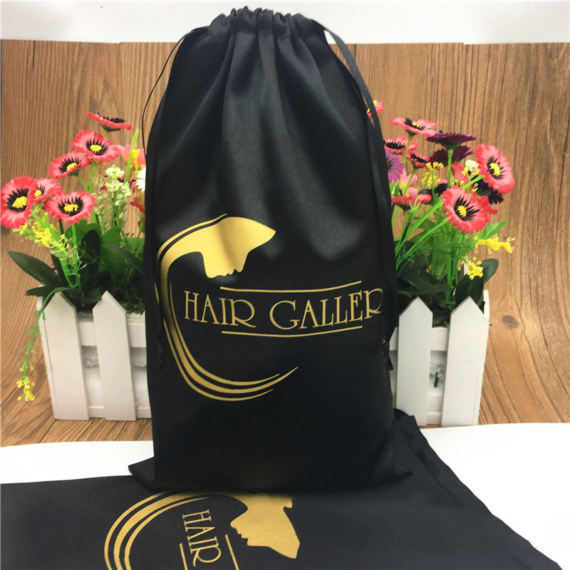 20PCS Luxury Hair Extension Wigs Packaging Bags Custom Logo Drawstring Gift Bag 13x18/15x20/18x30/30x40cm Silk Storage Bag