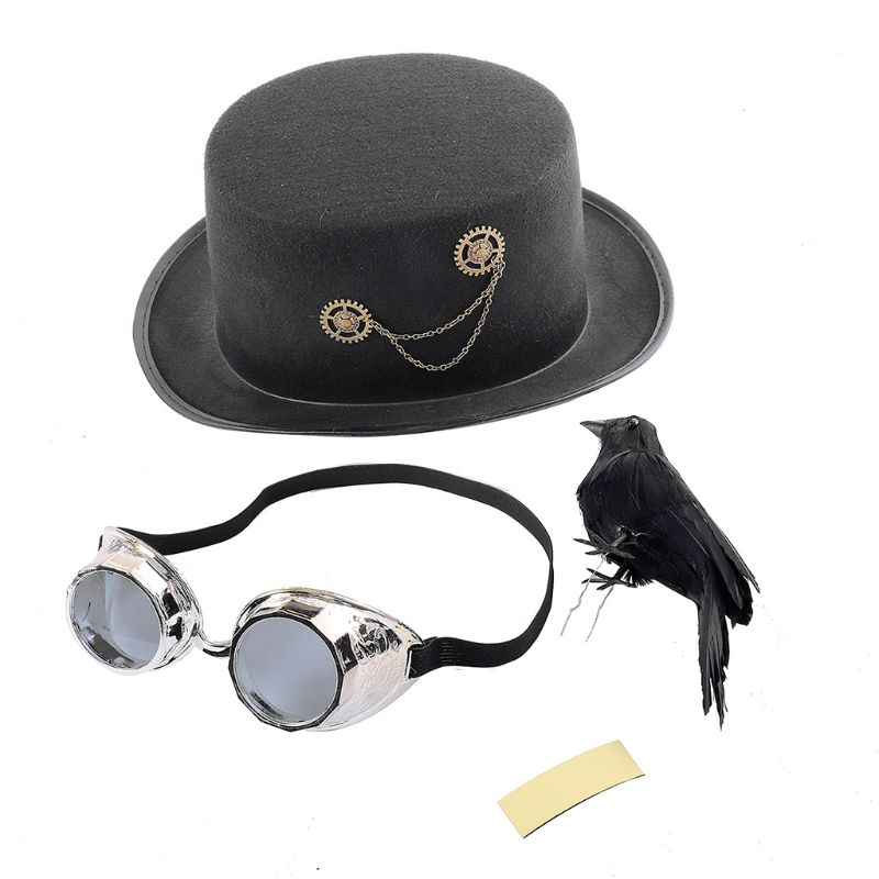 Unisex Heavy Metal Music Festival Top Hat Carnival Retro Gothic Steampunk Cosplay Black Jazz Cap with Crow Goggles