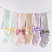 Baby Spring Autumn Winter Bowknot Tights Cotton Baby Girls Pantyhose Toddler Solid Color Stockings Infant Knitted Tights