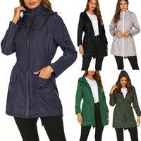 Frauen Lange Mit Kapuze Regenmantel Poncho Wasserdicht Undurchlässig Graben Mäntel Kleidung Tragbare Weibliche Outdoor Regen Jacke Mantel Abdeckungen