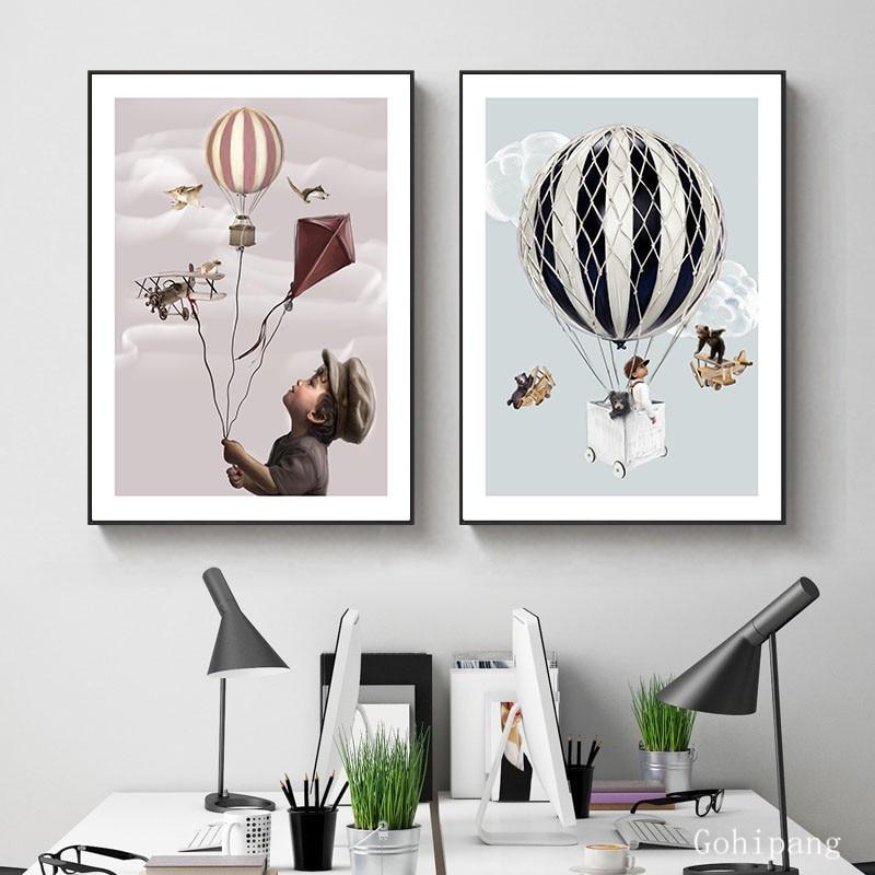 Настенное украшение для детской комнаты, воздушный шар мечты, животные, картины в скандинавском стиле, живопись на холсте, настенный постер ...