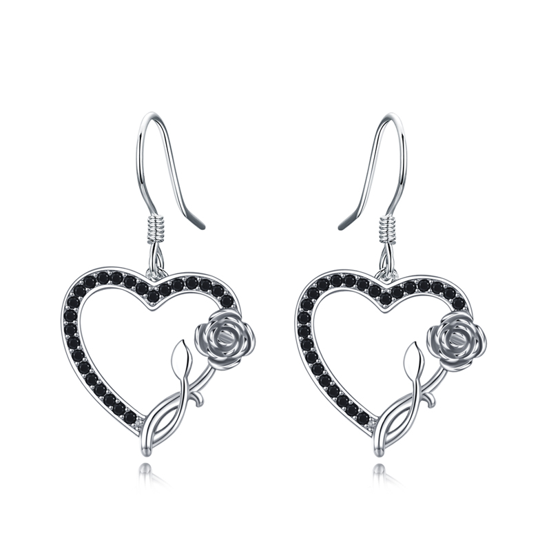 Black Awn 100% 925 Sterling Silver Earring Heart Black Spinel Anniversary Flower Drop Earrings for Women Fine Jewelry I154