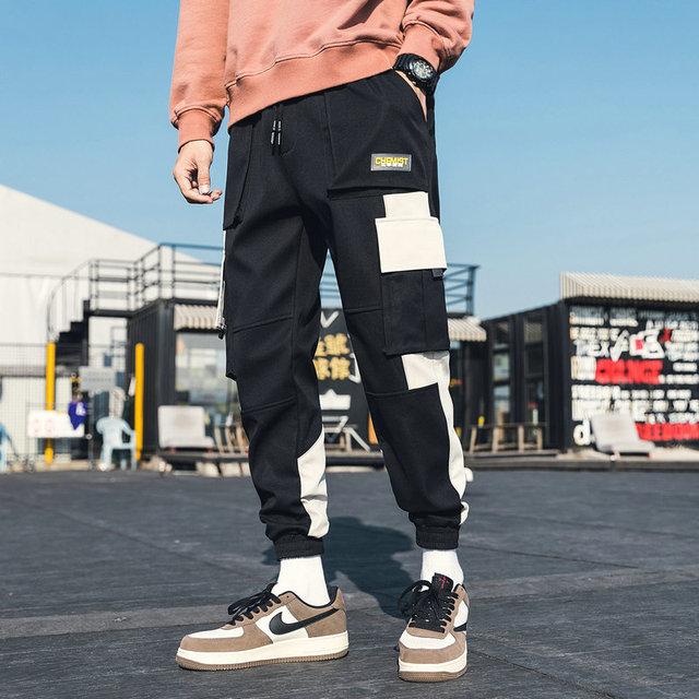 Streetwear Men's Multi Pockets Cargo Harem Pants Hip Hop Casual Male Track Pants Joggers Trousers Fashion Harajuku Men Pants 2