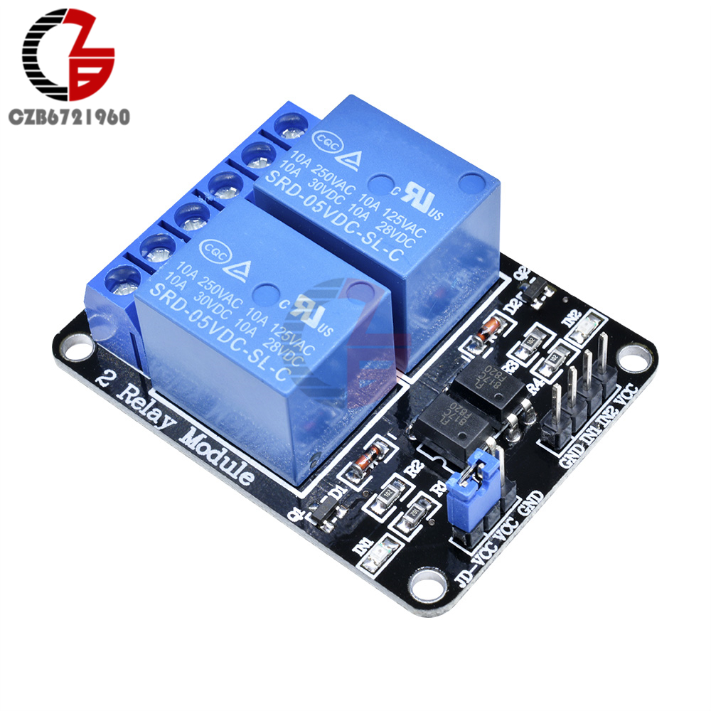 5V 2 Channel Relay Board Module With Optocoupler LED for Arduino PiC ARM AVR WFI
