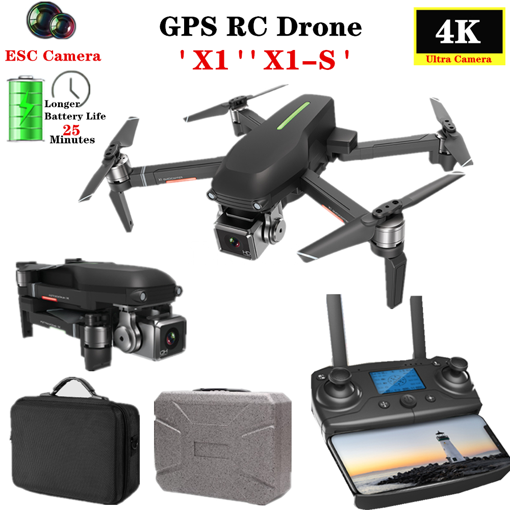 GPS RC Drone X1-S PRO quadrirotor 5G WiFi FPV 4K HD ESC caméra hélicoptère sans brosse 25 minutes de temps de vol VS F11 SG906