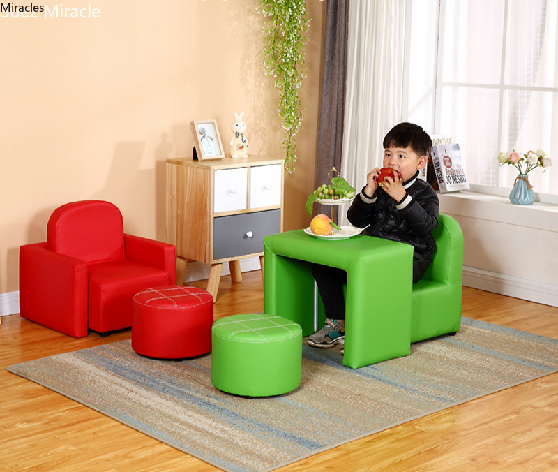 Multi Functional Children's Sofa Leather Easy To Clean Small Sofa Boy Girl Cute Baby Chair Combination Sofa Stool For Kids Mini