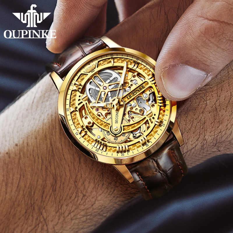 OLEVS klasik erkek Retro saatler otomatik mekanik İzle saat hakiki deri su geçirmez askeri saatler