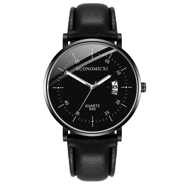 ECONOMICXI Men's Watch Business Military Men Watch Quartz Wristwatch Leather Band Watch Male Clock Relogio Masculino montre 2020