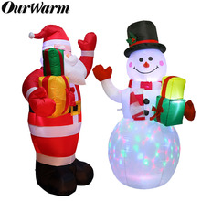 OurWarm Christmas Inflatable Greeting Snowman Santa Claus 5ft Giant Inflatable Blow Up Toy Garden Yard Decoration With LED Light