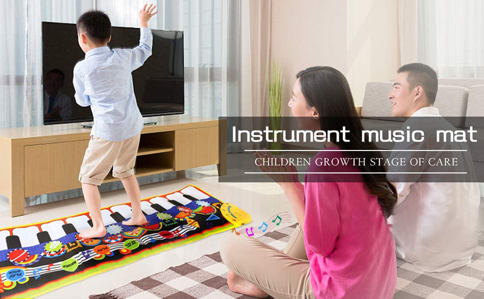 H62ec937ce5814c529aad1c607f59ff54u 110x36cm Musical Piano Mat Baby Play Mat Toy Musical Instrument Mat Game Carpet Music Toys Educational Toys for Kids Xmas Gift