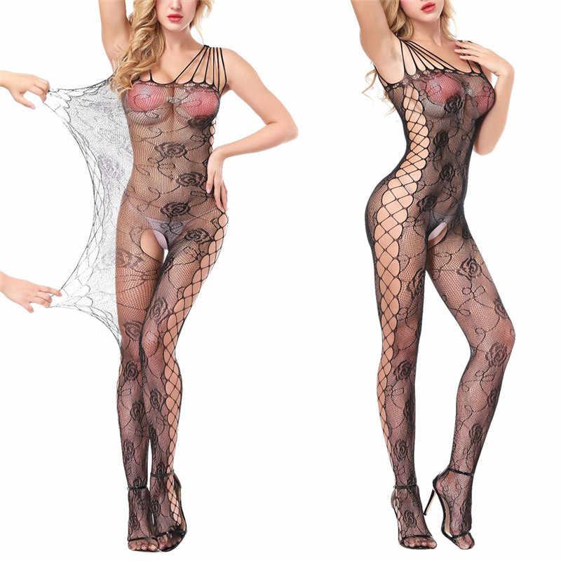 2019 bodystocking fishnet 깎아 지른 메쉬 바디 수트 섹시한 레오타드 섹스 옷 오픈 가랑이 메쉬 꽃 몸에 뜨거운 스타킹
