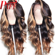 PAFF Highlight Blonde Full Lace Human Hair Wigs With Baby Ombre Body Wave Peruvian Remy Wig Pre Plucked Side Part