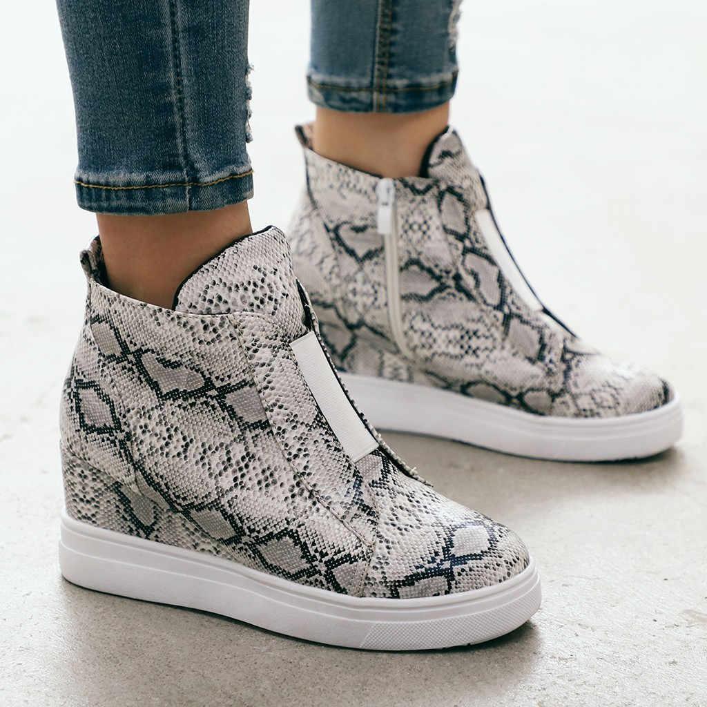 Botas mujer moda Retro cuñas tobillo punta redonda zapatos casuales botas mujer invierno botas talla grande Zapatos estilo calle l29
